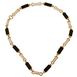 Van Cleef & Arpels Vintage Onyx Diamond Choker Gold Necklace