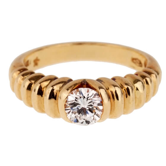 Bulgari Diamond Solitaire Gold Vintage Ring