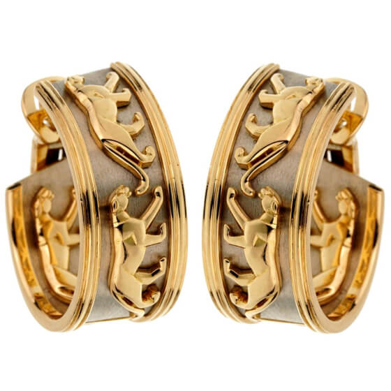 Cartier Vintage Panthere Yellow & White Gold Hoop Earrings