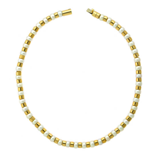 Chanel Yellow Gold Pearl Bead Necklace