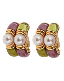 Bulgari Amethyst Peridot Yellow Gold Hoop Earrings