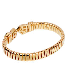 Bulgari Tubogas Diamond Yellow Gold Cuff Bracelet