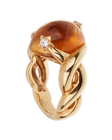 Chanel Comete Diamond Citrine Yellow Gold Ring