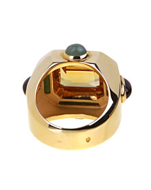 Chanel Citrine Jade Gold Cocktail Ring