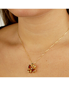 Chanel Citrine Gold Clover Pendant Necklace