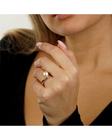 Chanel Pearl Bypass Yellow Gold Ring
