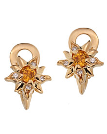 Chanel Comete Yellow Sapphire Diamond Gold Earrings