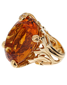 Christian Dior 44.5ct Citrine Diamond Cocktail Yellow Gold Ring