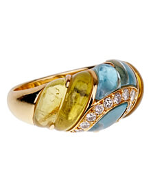 Christian Dior Lemon Quartz Blue Topaz Cocktail Gold Ring