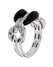 Damiani Lace White Gold Diamond Onyx Ring