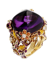 Dior Diorella Amethyst Yellow Gold Diamond Cocktail Ring