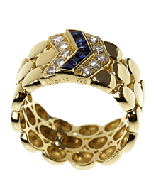Dior Diamond Sapphire Yellow Gold Band Ring