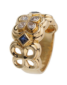 Dior Sapphire Diamond Yellow Gold Cocktail Ring