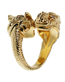 Gucci Double Tiger Diamond Yellow Gold Ring