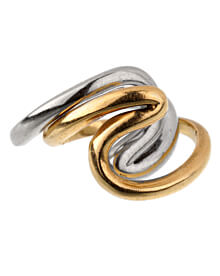 Gucci Vintage Swirl Cocktail Yellow White Gold Rings