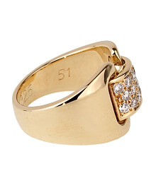 Hermes Diamond Yellow Gold Cocktail Ring