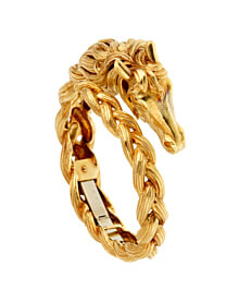 Hermes Horse Head Yellow Gold Bangle Bracelet