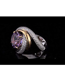 Cartier Trinity Ruban Amethyst Diamond White Gold Ring For Sale Opulent Jewelers