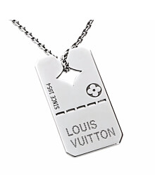 Louis Vuitton Dog Tag White Gold Necklace