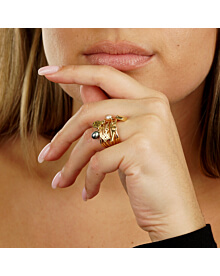 Louis Vuitton Monogram Pearl Cocktail Yellow Gold Ring