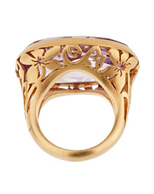 Pomellato 10ct Amethyst Cocktail Rose Gold Ring Sz 6 1/4