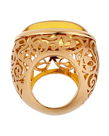 Pomellato 19.94 Carat Amber Rose Gold Cocktail Ring Sz 5 1/2