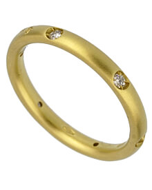 Pomellato Matte Finish Diamond Yellow Gold Band Ring Sz 6