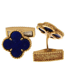 Van Cleef Arpels Lapis Alhambra Yellow Gold Cufflinks