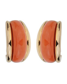 Van Cleef & Arpels Coral Yellow Gold Hoop Earrings