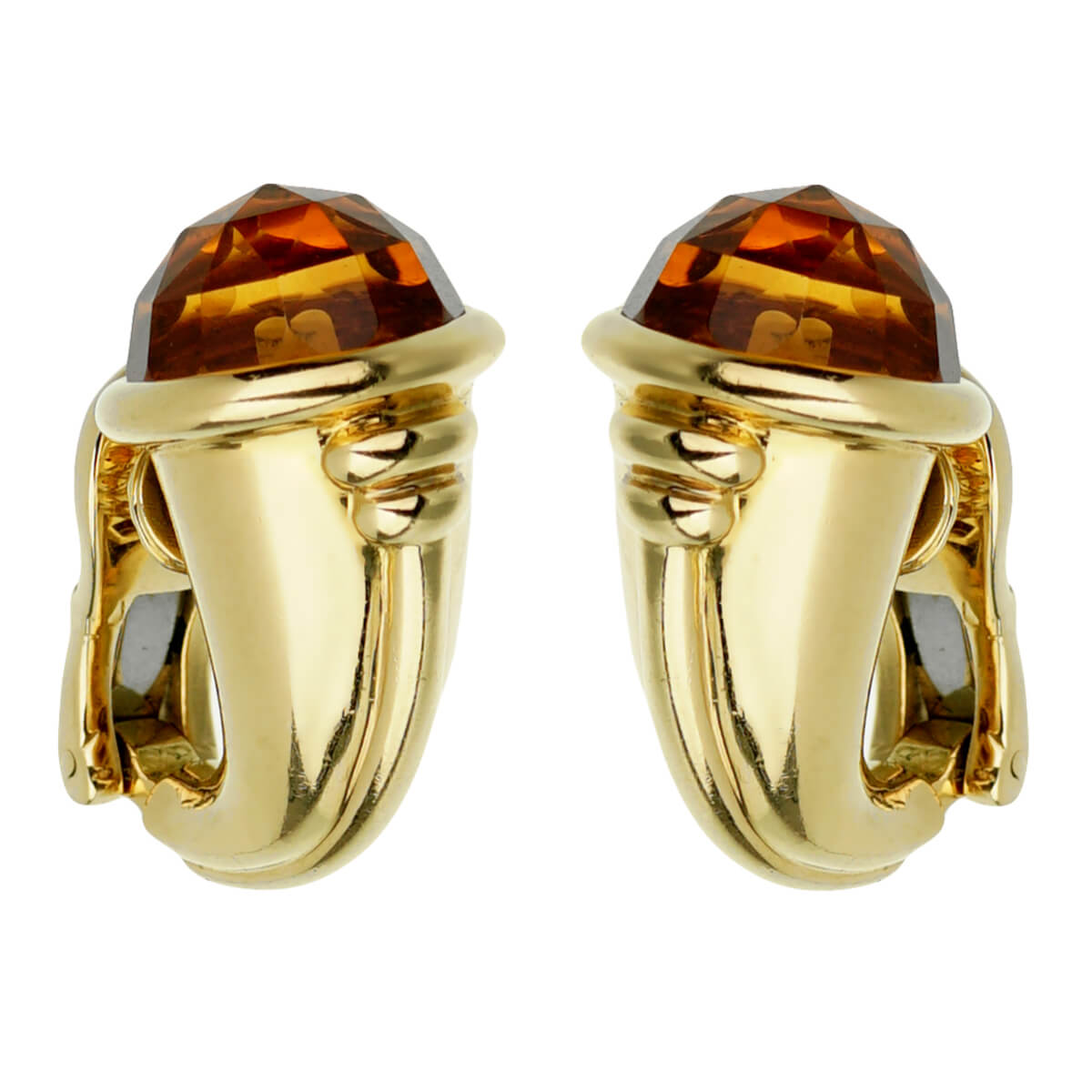 Bulgari Vintage Citrine Yellow Gold Hoop Earrings