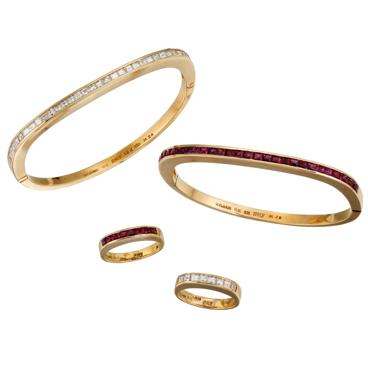 Bulgari Vintage Ruby Diamond Bracelet Ring Suite