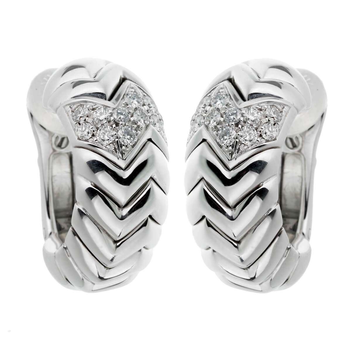 Bulgari Spiga White Gold Diamond Earrings
