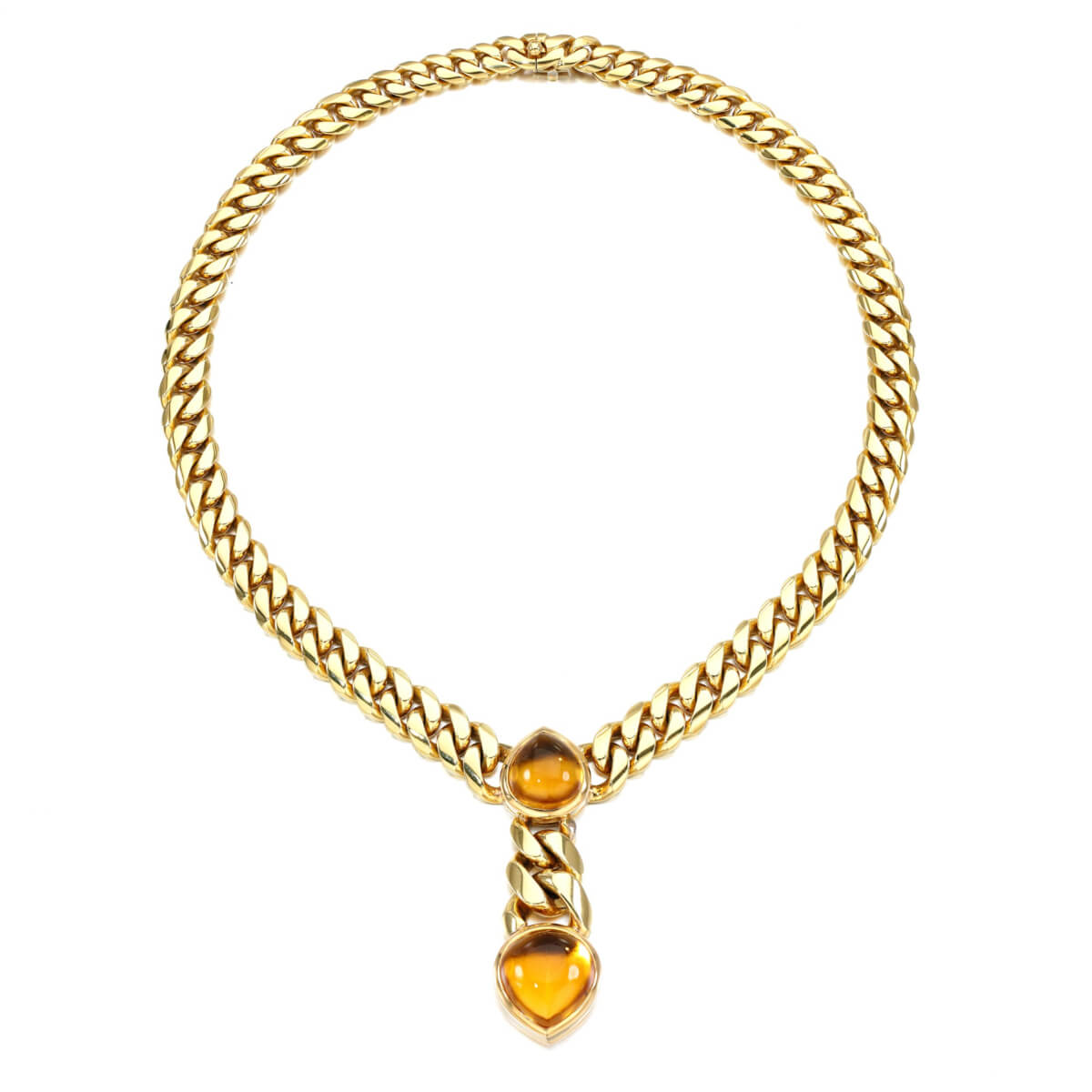 Bulgari Magnificent Vintage Citrine Gold Curb Link Necklace