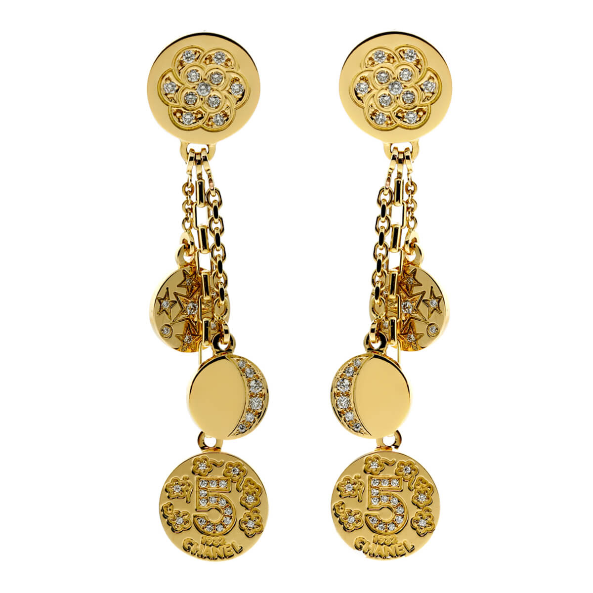 Chanel Charm Diamond Gold Earrings