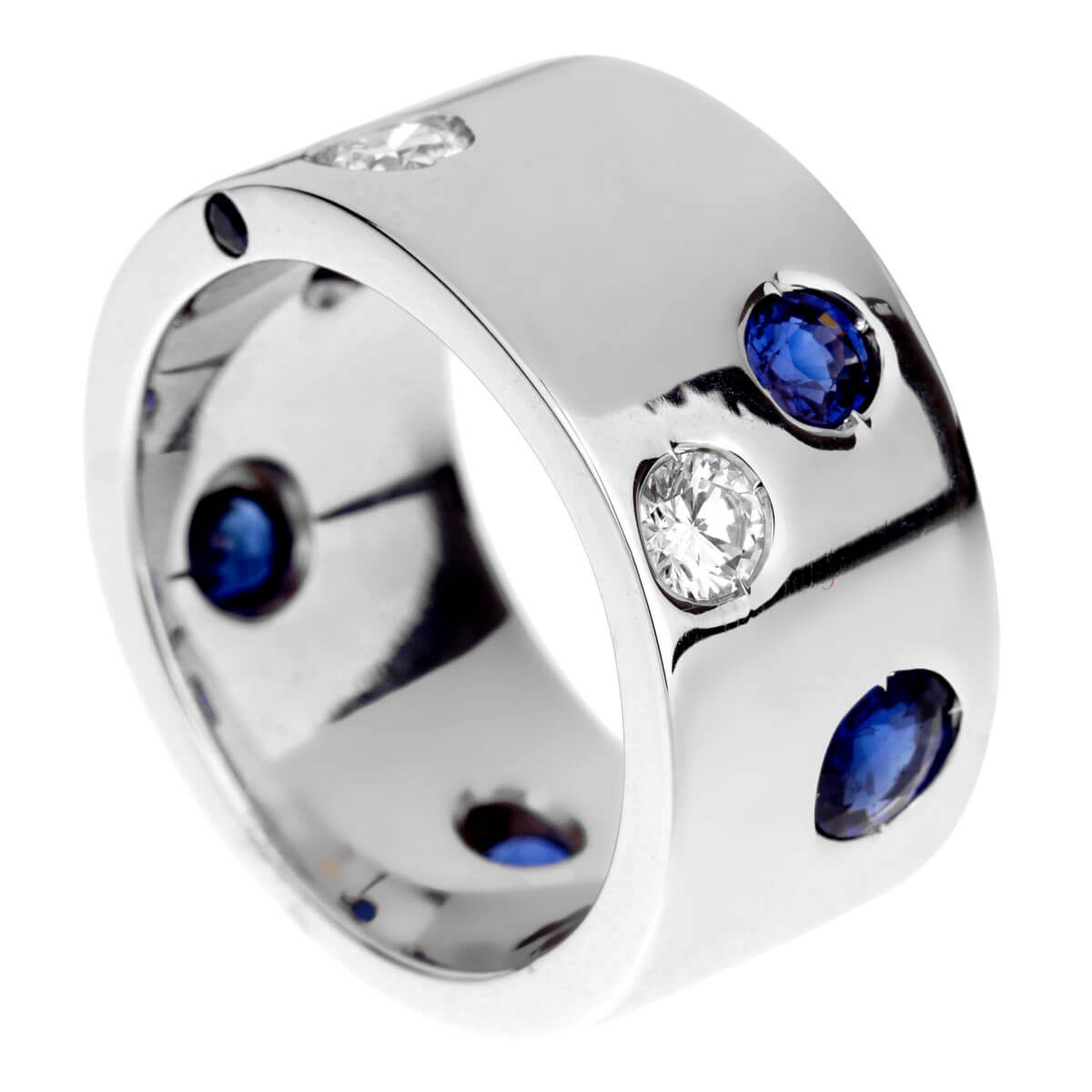 Chanel Sapphire Diamond White Gold Band Ring