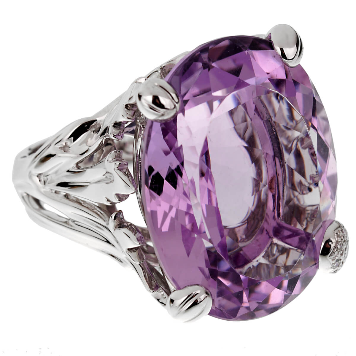 Christian Dior 44.5ct Amethyst Diamond Cocktail White Gold Ring