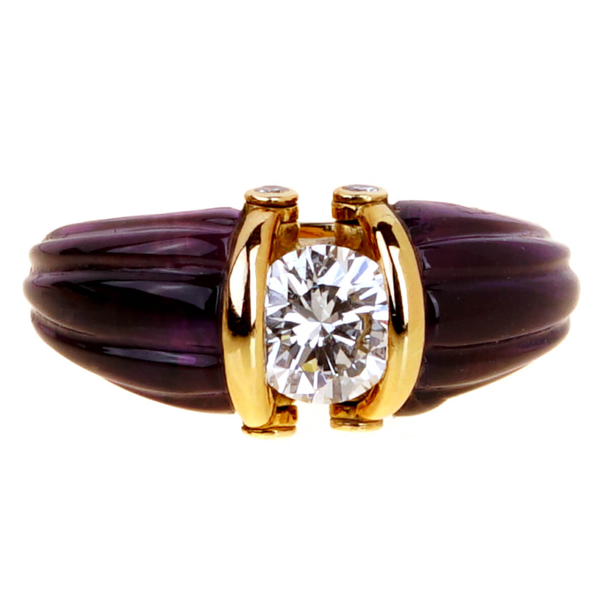 Dior Carved Amethyst Diamond Solitaire Ring
