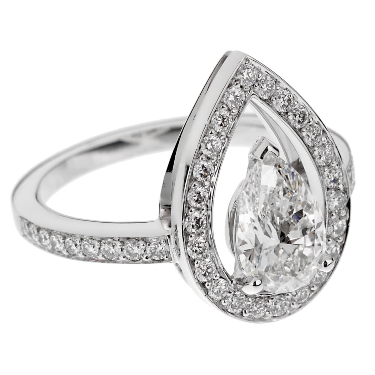Fred of Paris Lovelight Pear Shaped .66ct Diamond Engagement Ring