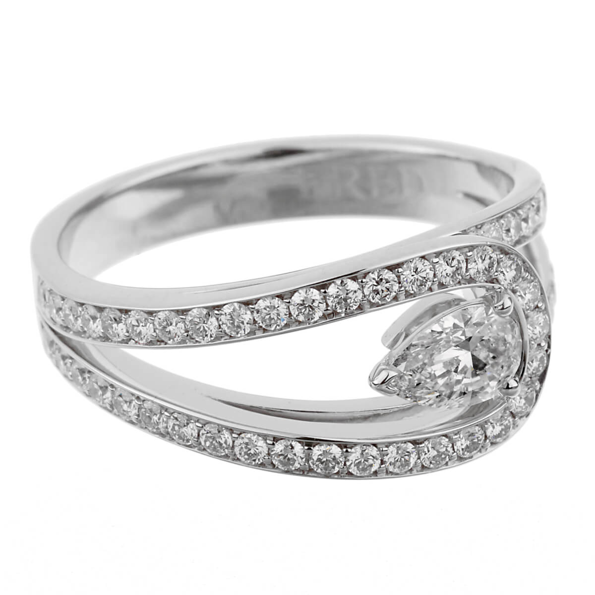 Fred of Paris .85ct Lovelight Pear Diamond Platinum Ring