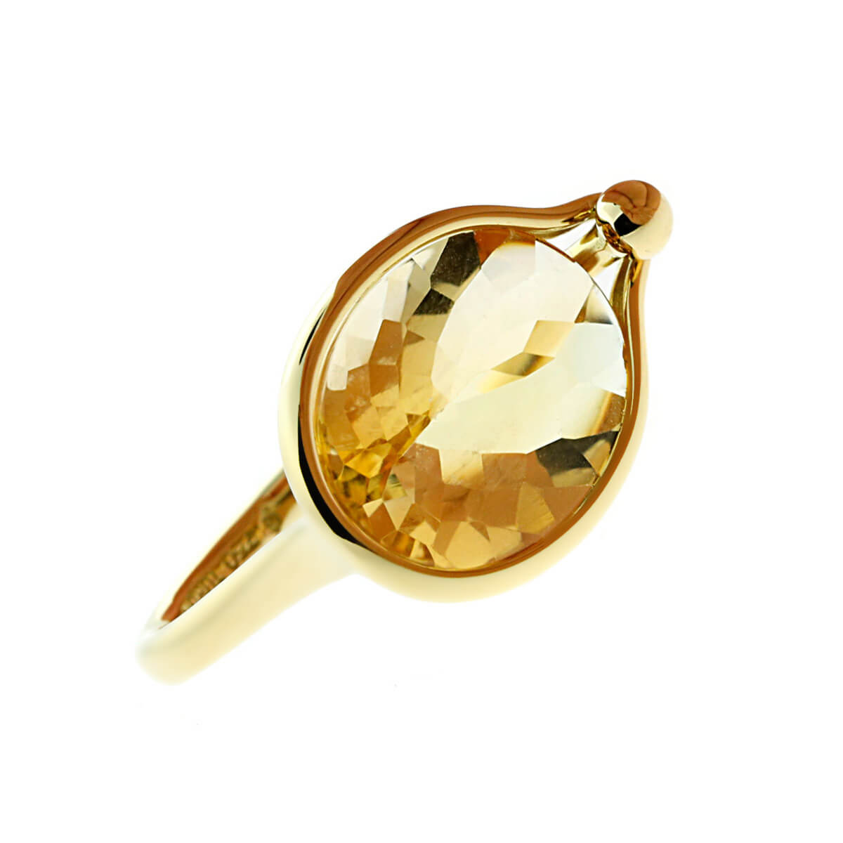 Georg Jensen Citrine Cocktail Yellow Gold Ring
