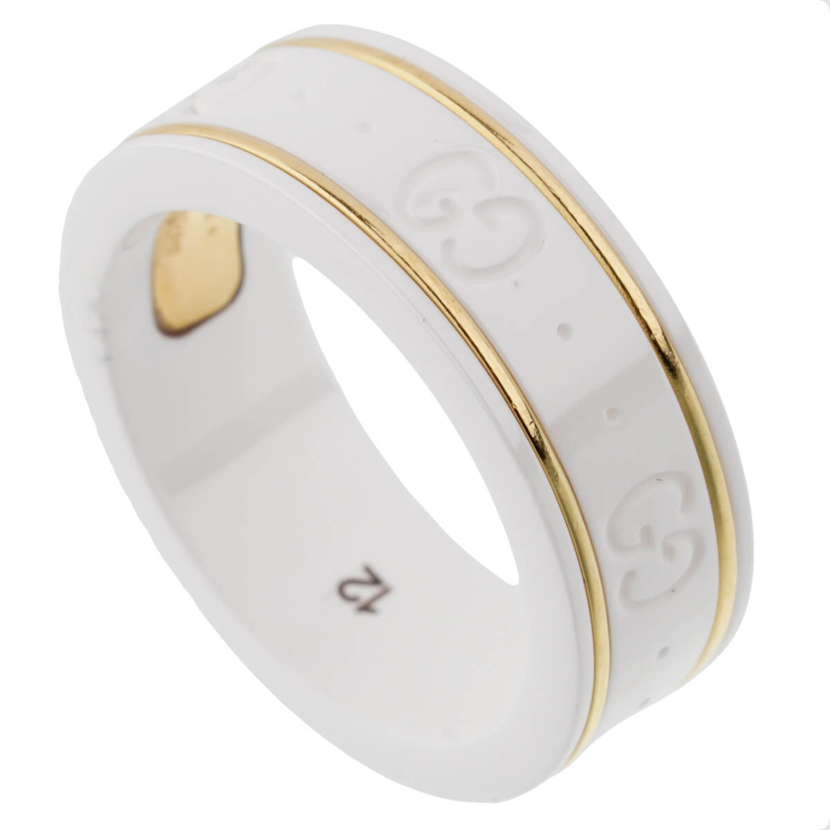 Gucci Ceramic Yellow Gold Band Ring