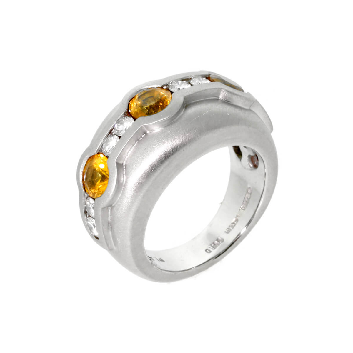 Barry Kieselstein Cord Diamond Yellow Sapphire Platinum Ring
