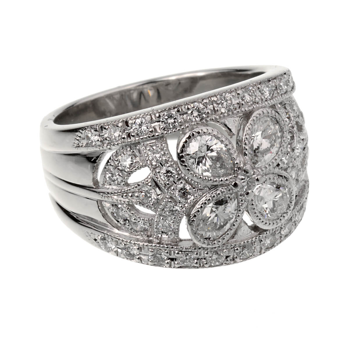 Vintage Platinum Diamond Cocktail Ring