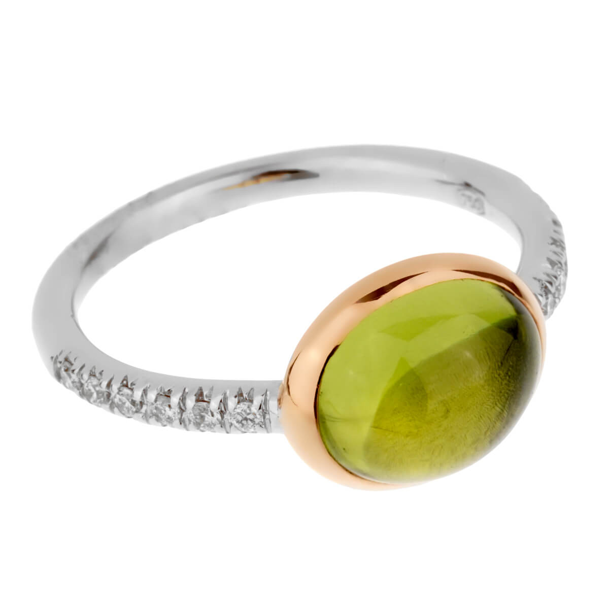Mimi Milano Peridot Diamond White Gold Ring