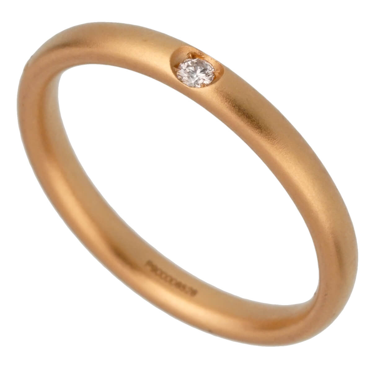 Pomellato Rose Gold Satin Finish Diamond Band Ring Sz 6 1/2