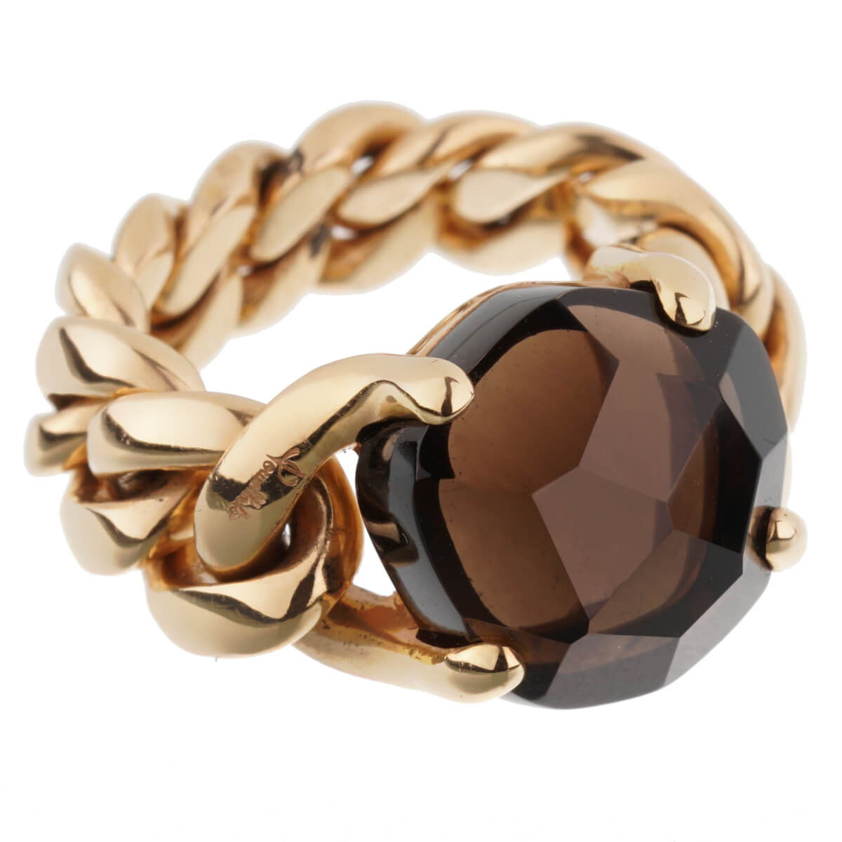 Pomellato 6.65ct Smoky Quartz Chain Link Gold Ring