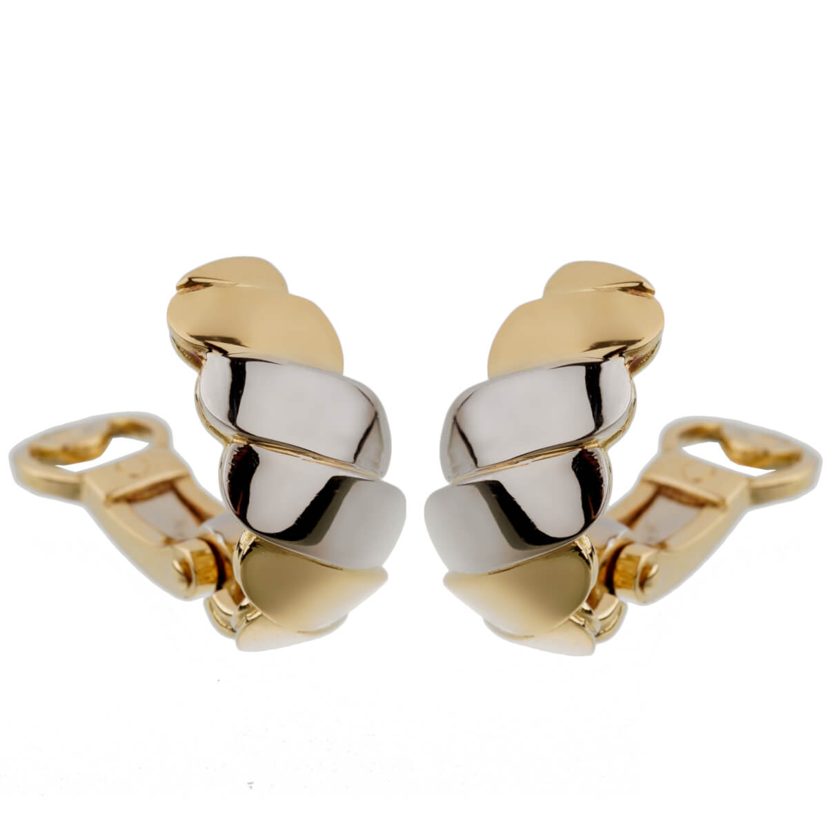 Pomellato White Yellow Wave Gold Clip On Earrings
