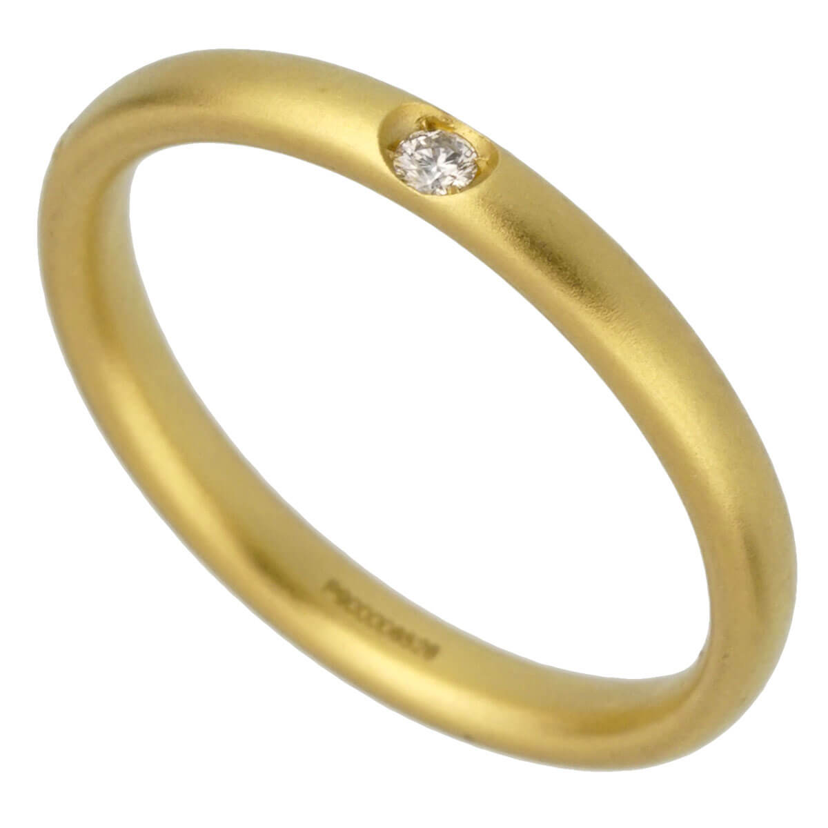 Pomellato Yellow Gold Satin Finish Diamond Band Ring Sz 4