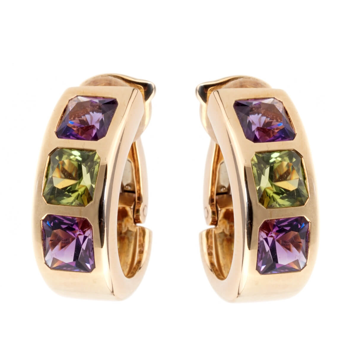 Van Cleef & Arpels Amethyst Peridot 18k Yellow Gold Earrings