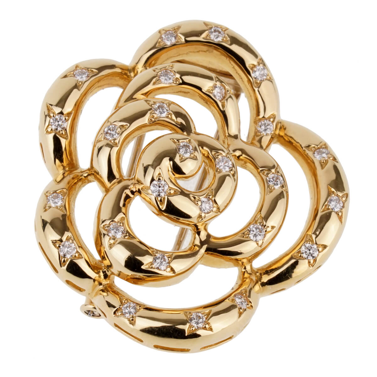 Van Cleef Arpels Flower Diamond Gold Brooch